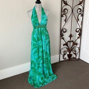 BCBG Max Azria palms colorful jeweled maxi dress